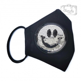 BLACK COTTON PROTECTIVE MASK WITH SMILE PATCH